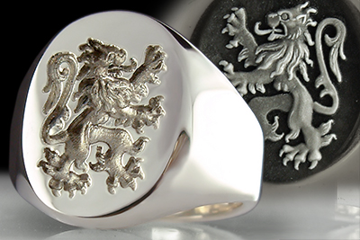Old Style Scottish Lion Rampant Signet Ring
