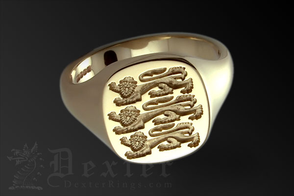 Three Lions Of England Footbal Emblem Cushion Ring