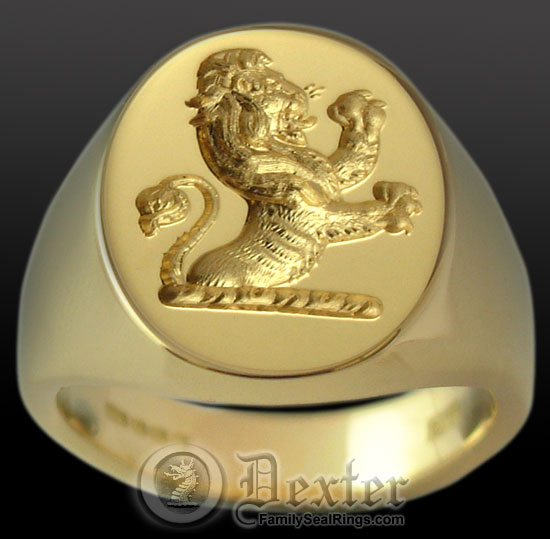Demi lion Crest Seal Engraved onto a Signet Ring