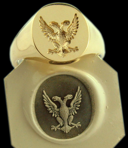 Double Headed Eagle Crest Engraved on a Signet Ring