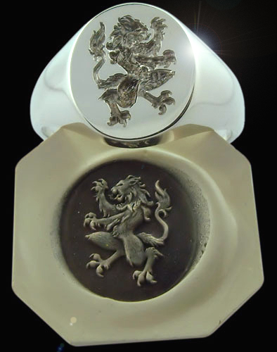 Signet ring and wax impresison with gothic lion crest