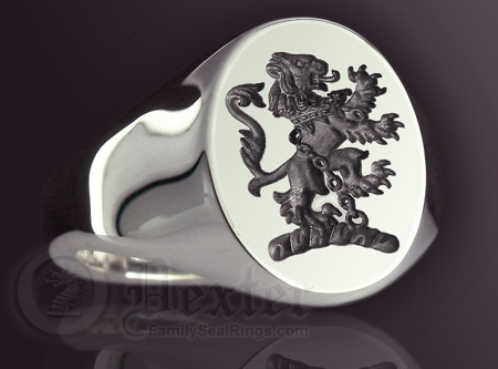 Lion Rampant in Chains Engraved Signet Ring