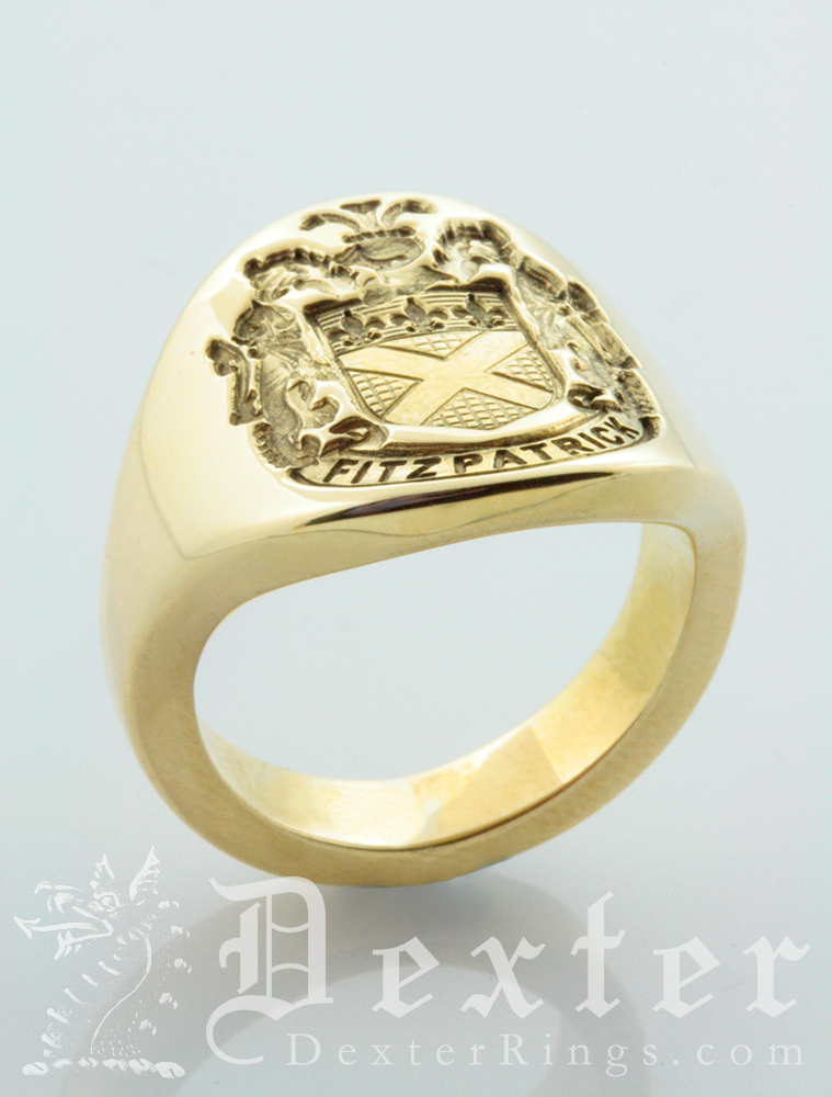 Side on view of Fitzpatrick coat-of-arms cigar band ring to show weight