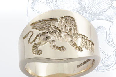 Make the Most of the Available Width - Venetian Lion of st. Mark Passant Cigar Ring