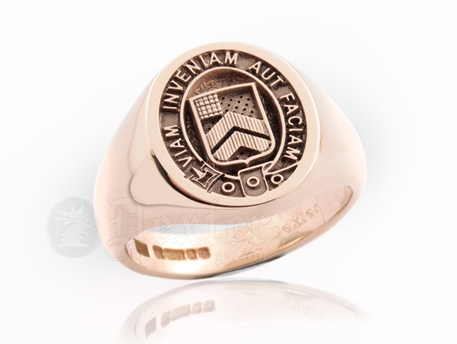 Red Gold Signet Ring Engraved with McAlees Clan Badge