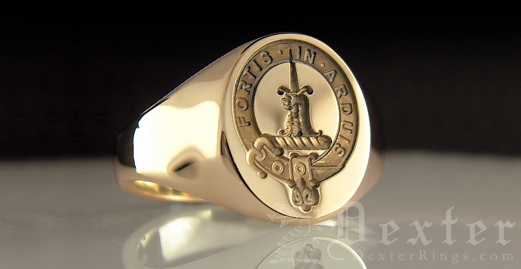Gold Signet Ring Engraved with McDowell Clan Badge