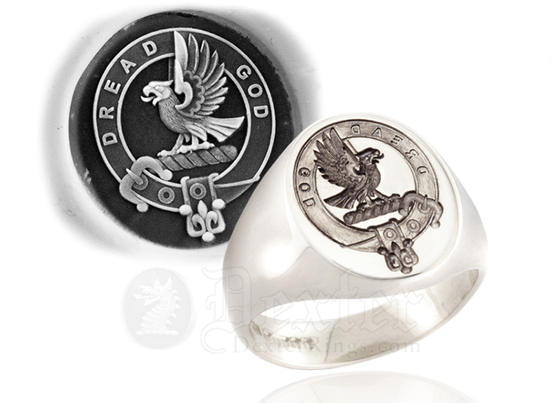 Silver Signet Ring Engraved with Munro Clan Badge