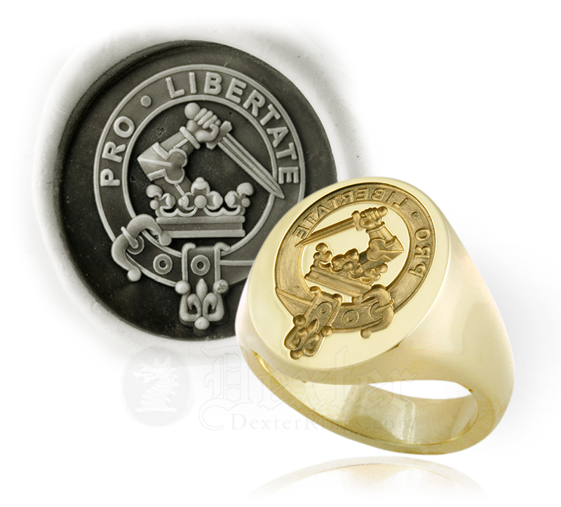 Signet Ring Engraved with Wallace Clan Badge