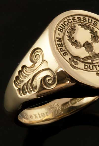 Duthie Clan Ring With Scroll Shoulder Engraving