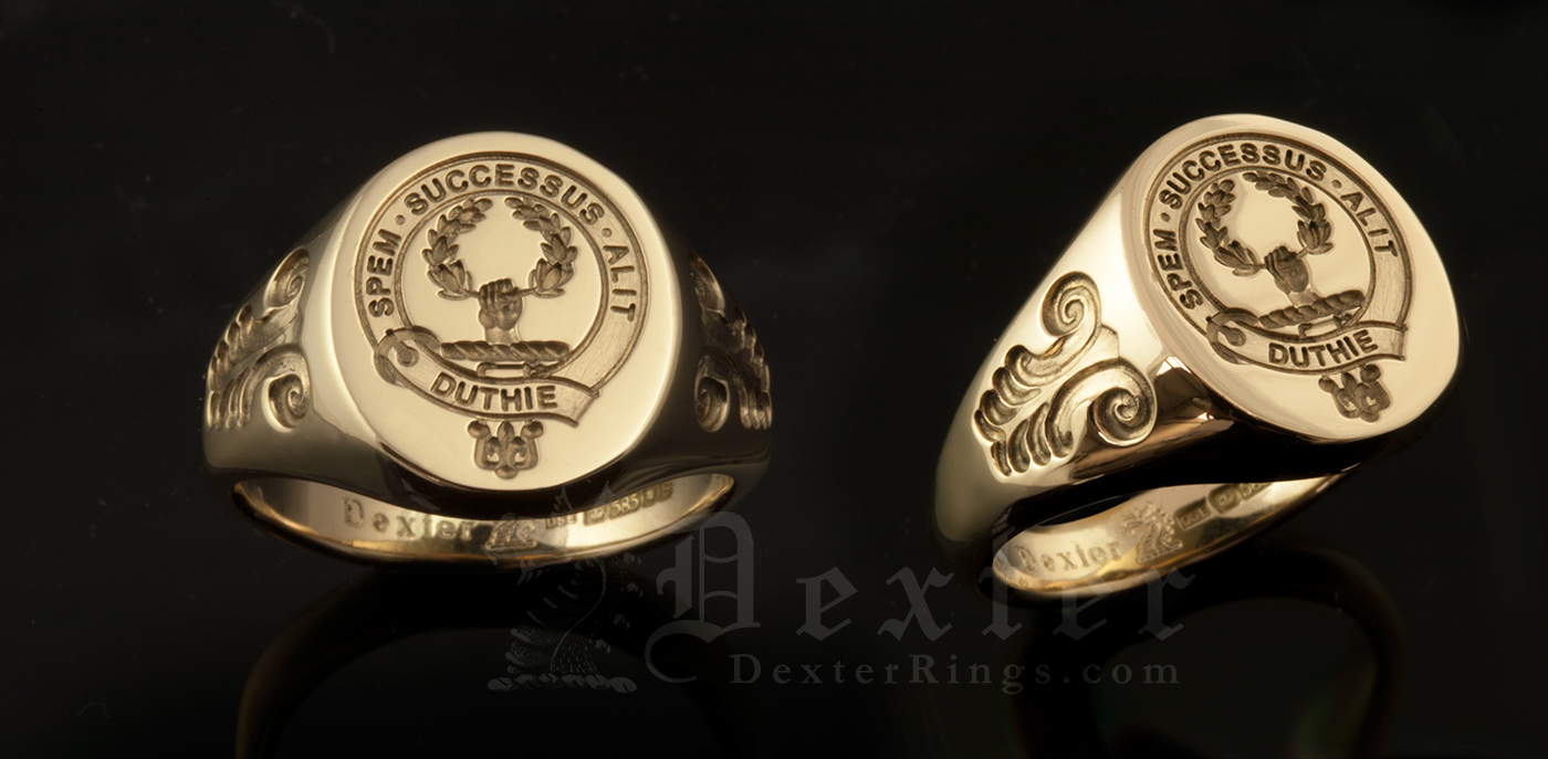 Signet Ring Engraved with Duthie Clan Badge