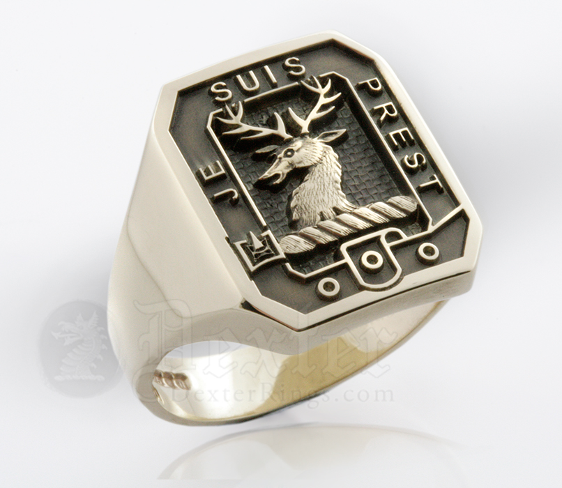 Gold Signet Ring Engraved with Fraser Clan Badge