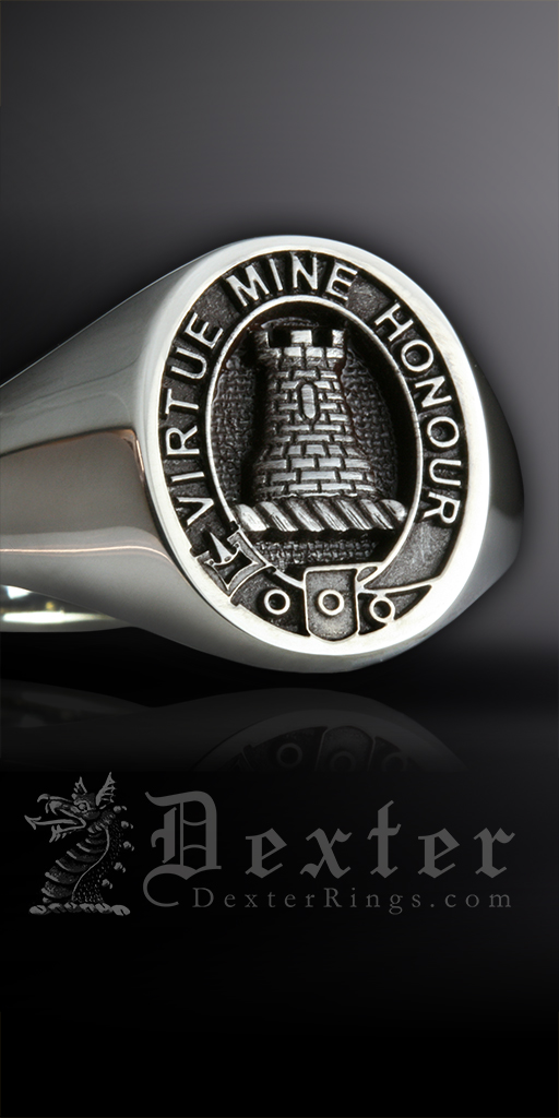 Silver Signet Ring Engraved with MacLean Clan Badge