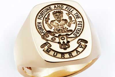 Murray Clan Badge XXL Ring with Additional Banner