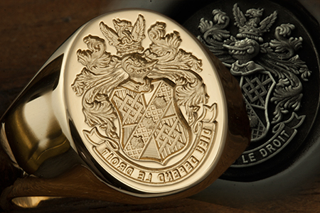 Bespoke Coat of Arms / 'Seal Engraved' / Oval 18ct