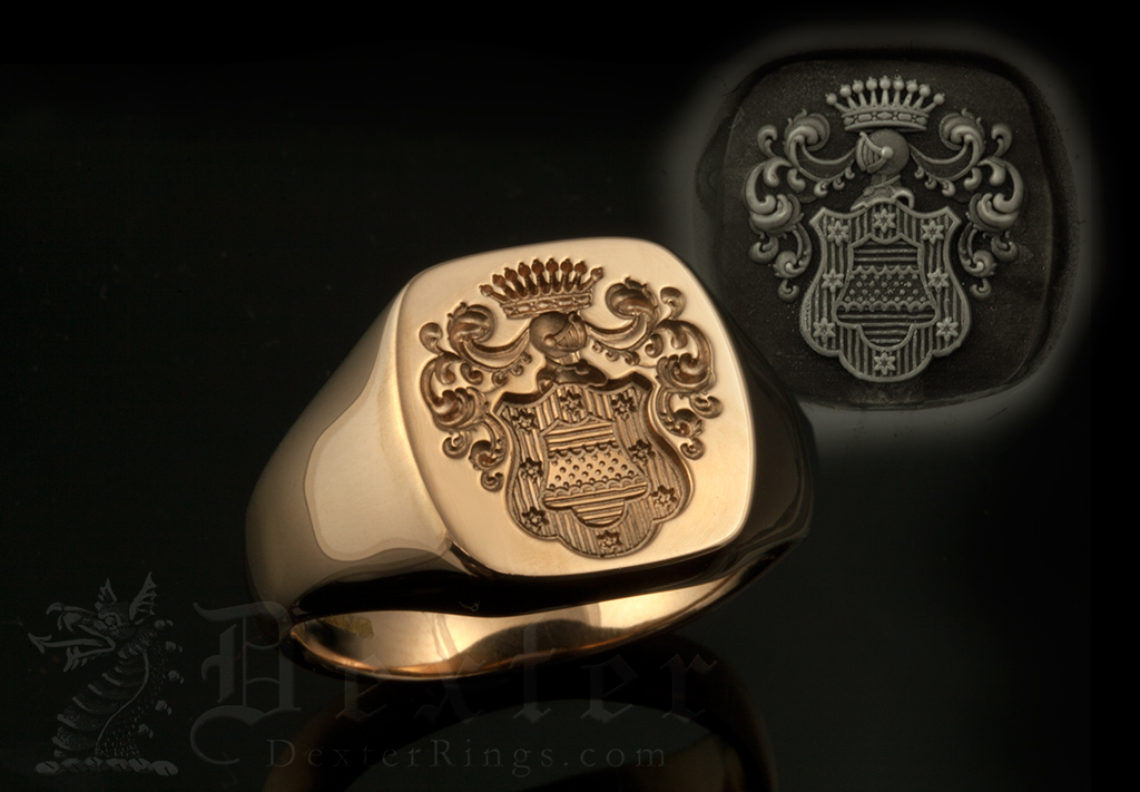 Bespoke Coat of Arms Cushion Shape Signet Ring