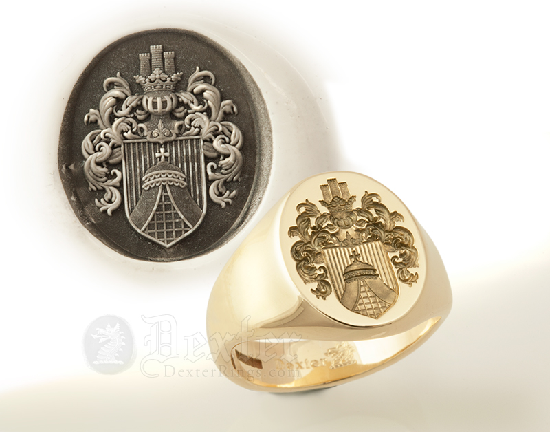 Bespoke Coat of Arms Seal Ring with Your Arms & Crest