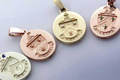 Given as Bridesmaids Gifts - Pendants Engraved with Heraldry Set with Gemstones