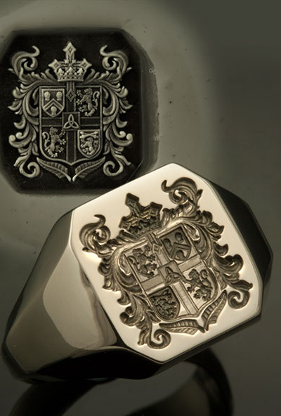 Octagonal South African Coat of Bespoke Arms Signet Ring