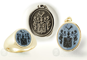 Sardonyx Ring and Pendant Engraved with a Coat-of-Arms