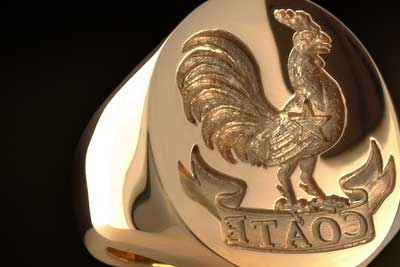 Signet Ring Custom Bespoke Engraved with Cockerel Rooster Chicken Crest & Family Name
