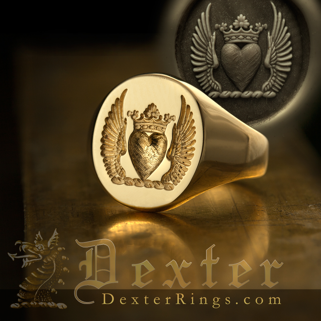 Crest Ring Heart Wings Ducal Coronet