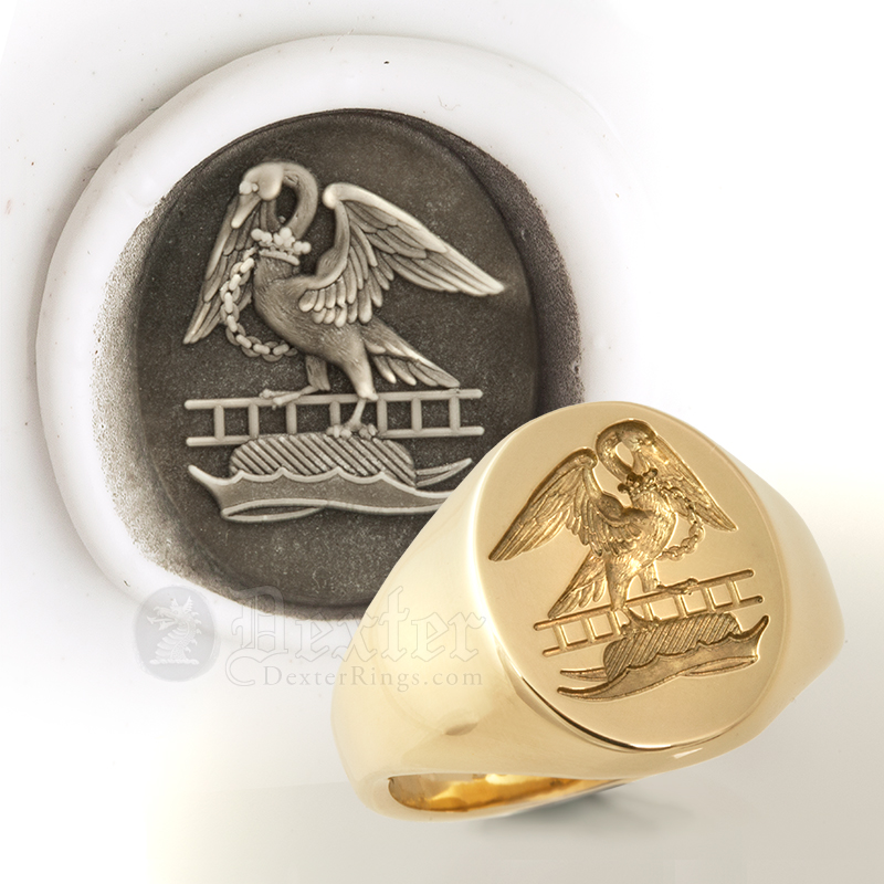 Swan Crest on 18ct yellow gold signet ring