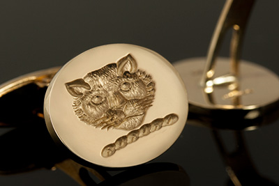 Swivel / Post Cufflinks With Cat / Leopard Head Crest