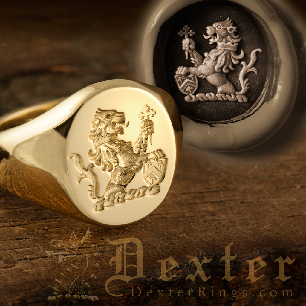 Demi Lion Rampant Collared Escutcheon Cross Corosslet Crest Ring