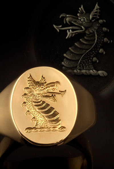 Dragon Head Couped Crest Signet Ring