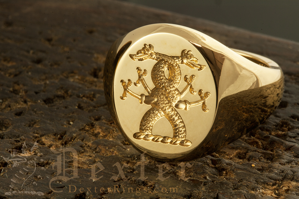 Double Headed Serpant Entwined Crest Signet Ring