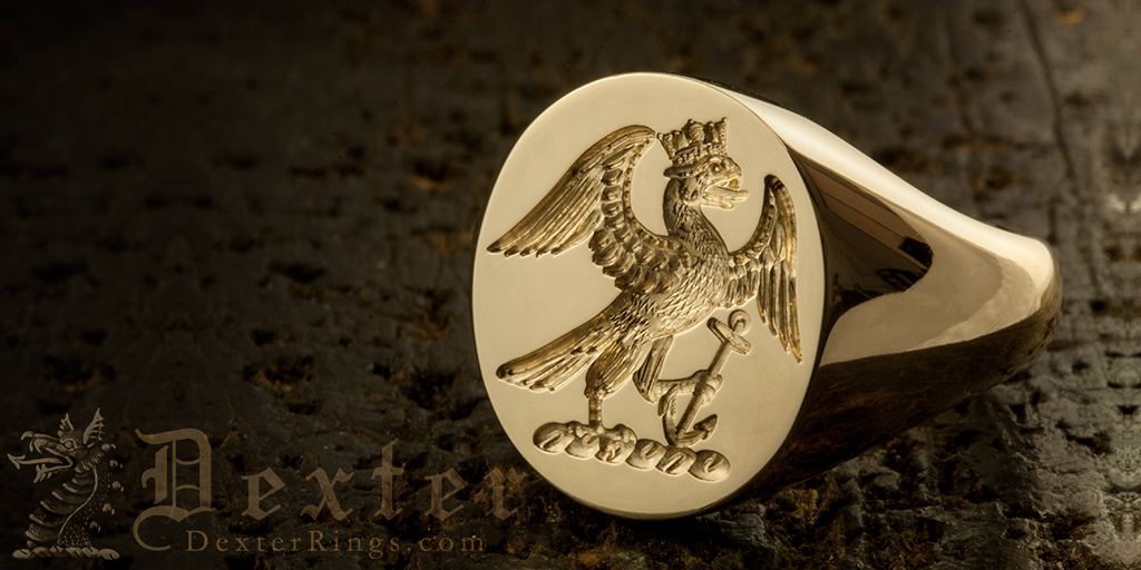 Signet Ring Engraved with Eagle Rising Naval Coronet & Anchor