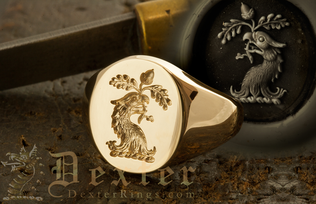Eagle Head 'Erased' (torn off!) Crest Engraved on a Signet Ring