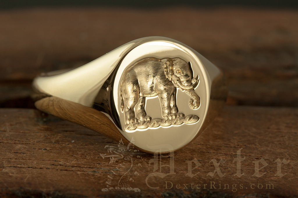 Elephant Crest Engraved Signet Ring