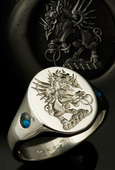 Flying Boar Crest Ring