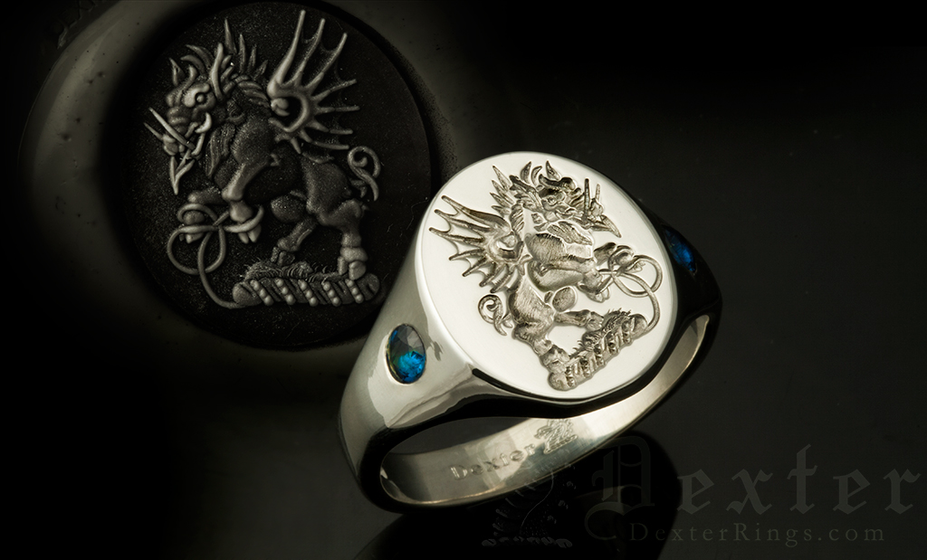 Crest Ring Set With Impact Sapphires in the Shoulders