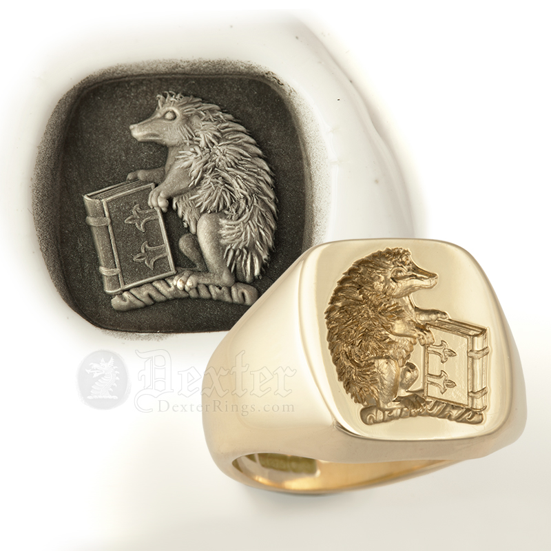 Hedgehog & Book Heraldic Crest Engraved onto a Signet Ring