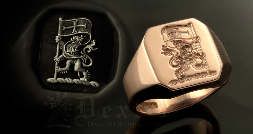 Lion Rampant & Flag Crest on an Octagonal Signet Ring