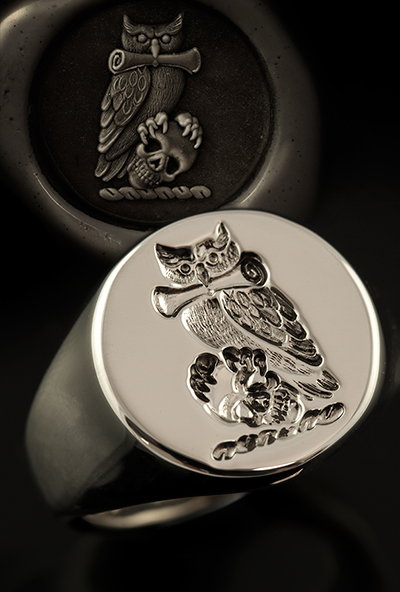 Owl Skull Scroll Crest Signet Ring