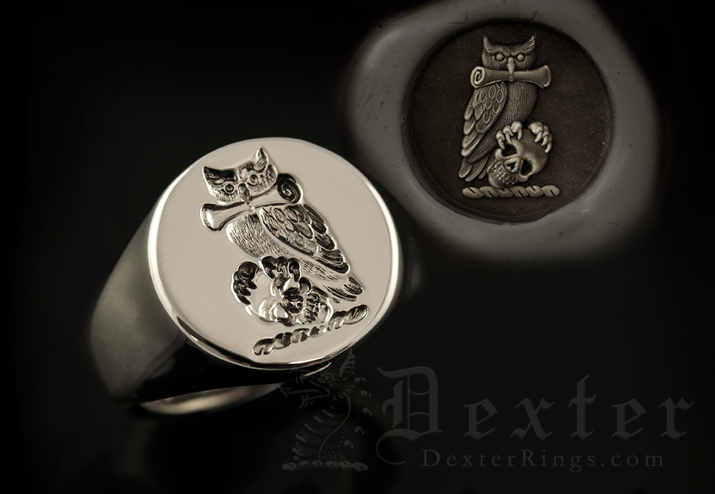 Owl Skull Scroll Crest Round 9ct White Gold Signet Ring