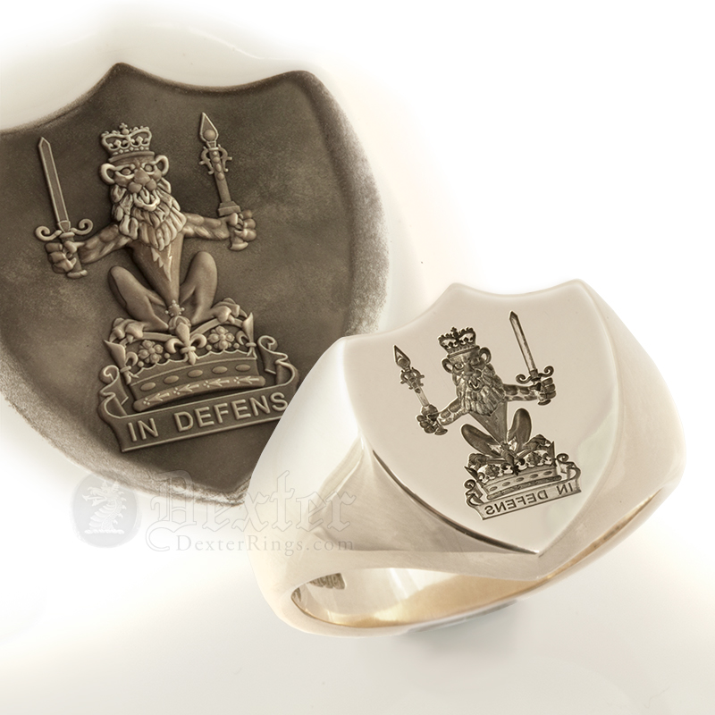 Shield Shape Ring with Lion Staff Royal Crest Motto 'IN DEFENS'