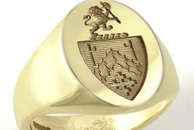 Signet Ring Engraved with a Custom Bespoke  Heraldic Shield & Crest
