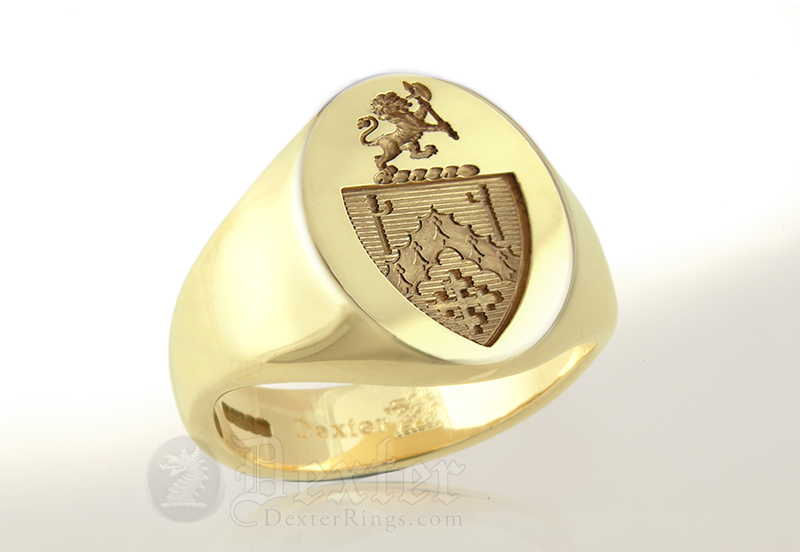 Signet Ring Engraved with Custom Bespoke Heraldic Shield & Crest