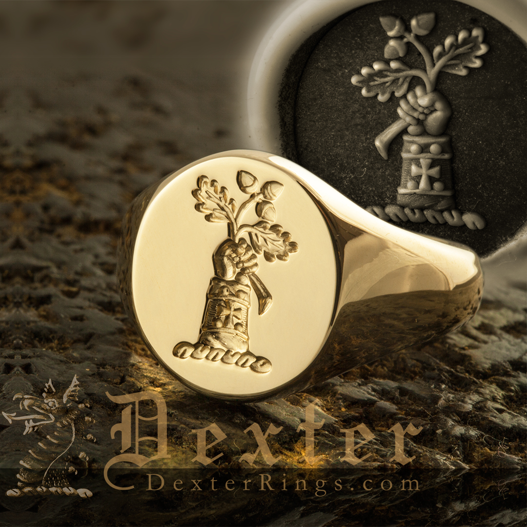 Signet Ring With Crest Arm Hand Holding Oak