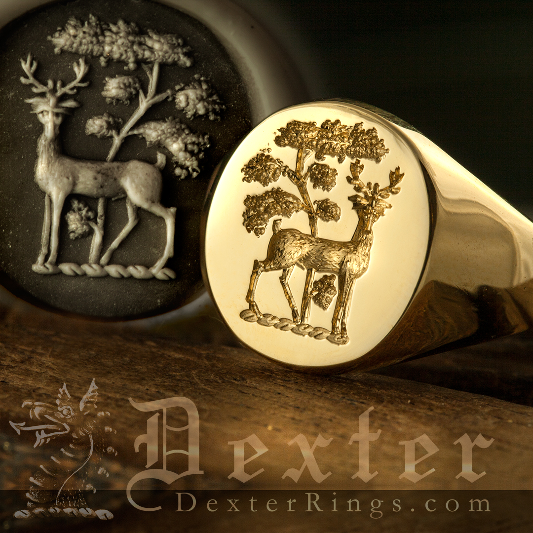 Stag standing under tree guardant heraldic crest signet ring