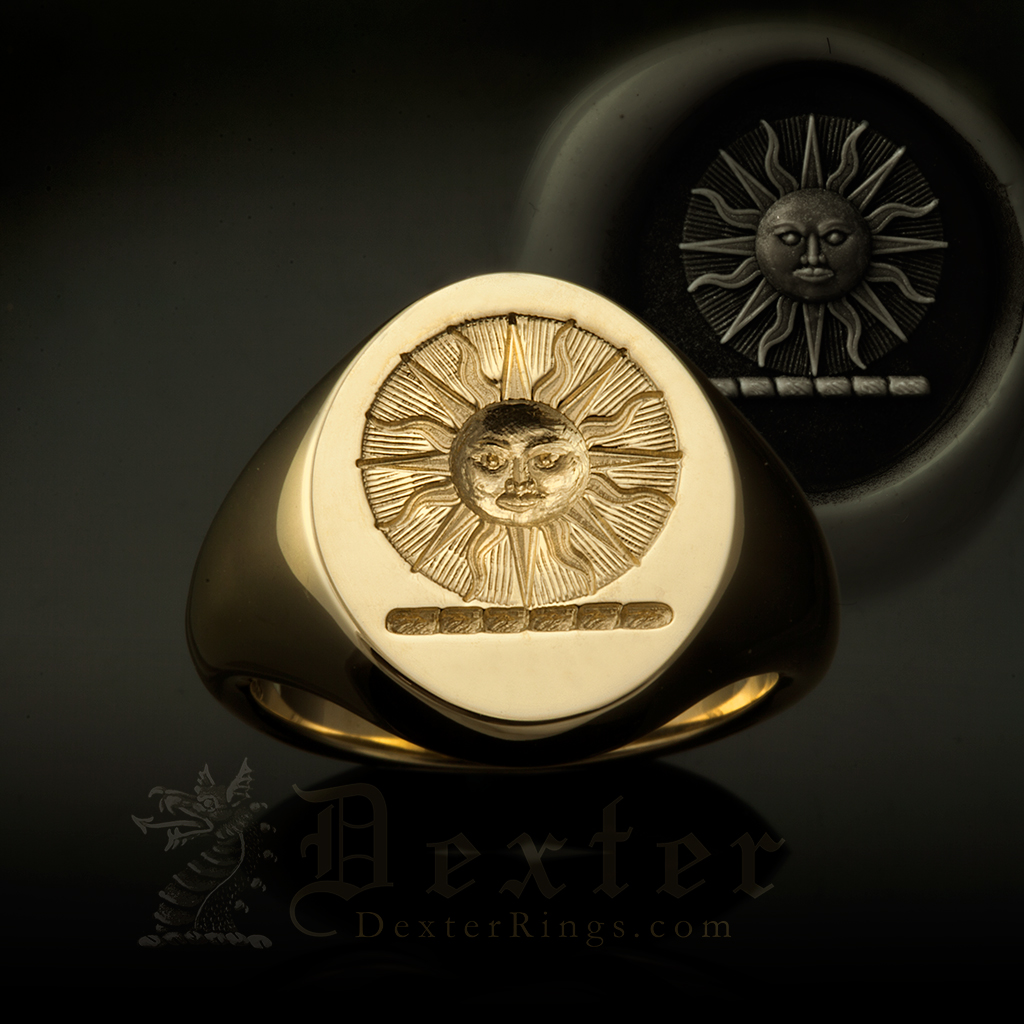 Sun In Splendor Crest Signet Ring