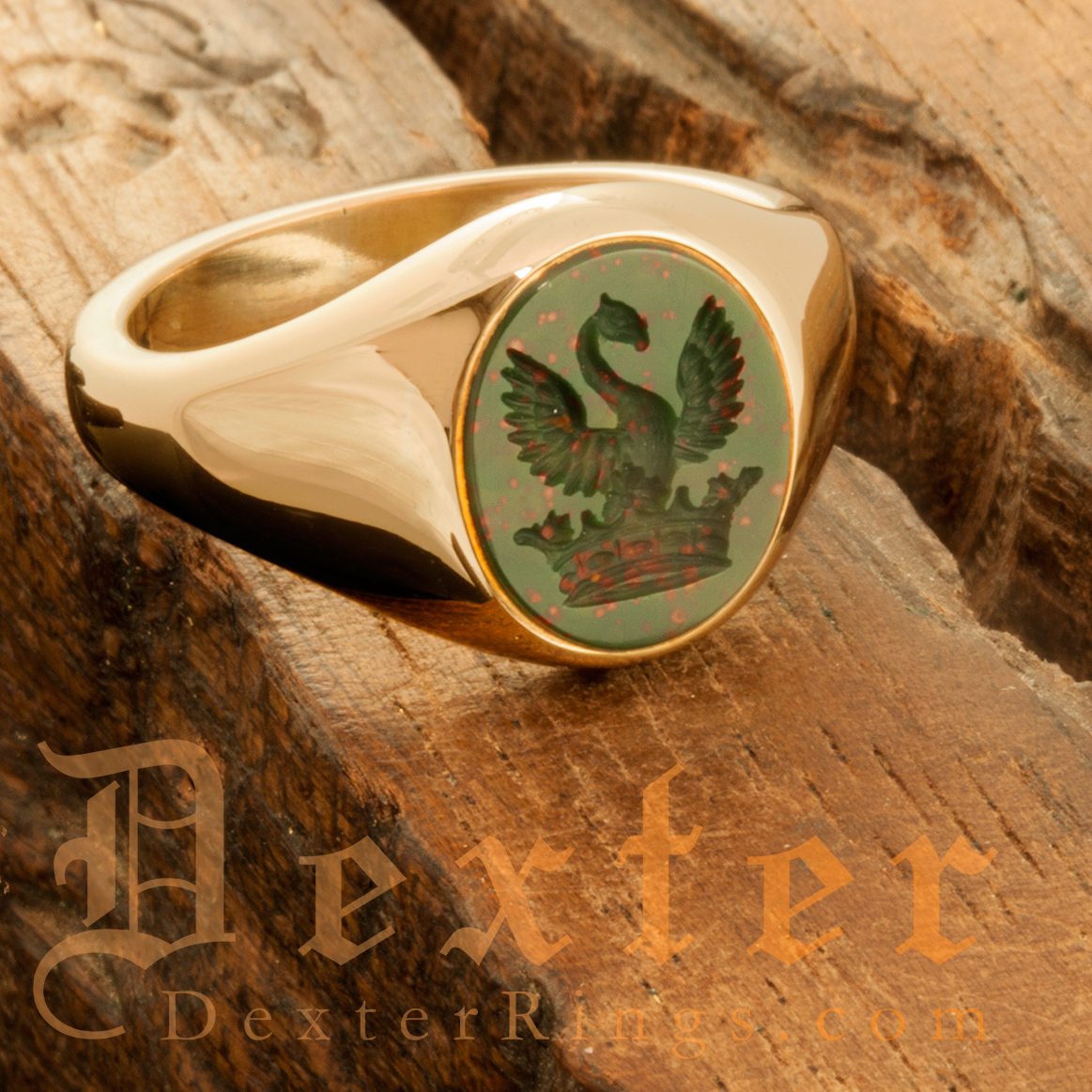 Swan Out Of Ducal Coronet Crest Bloodstone Signet Ring