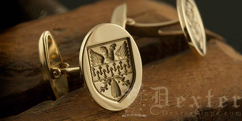 Bespoke Heraldic Shield Engraved Swivel Cufflinks