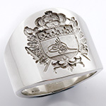 Cigar Band Style Ring - Engraved with an Arabic Coat of Arms