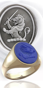 Blue agate gemstone ring - engraved with a demi lion rampant