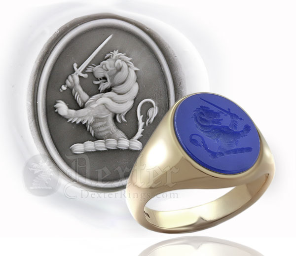 Blue Agate Gemstone Ring - Engraved with a Lion Rampant